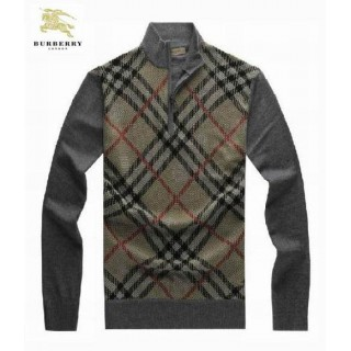 Burberry Rayures Pull Homme Gris Pullover Manches Longue Col Montant Outlet Paris