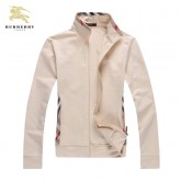 Burberry Veste Femme Sweat Beige Manches Longues Zippe Uni Col Montant Magasin France