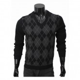 Burberry Pullover Noir Pull Homme Manches Longue Col V Portefeuille