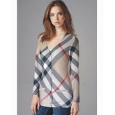 Burberry Gris Manches Longue Col V T Shirt Femme Collection