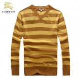 Burberry Manches Longue Col V Jaune Pull Homme Pullover Robe Fille