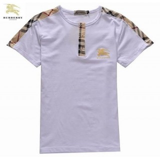 Burberry Col Rond T Shirt Homme Blanc Manches Courte Logo Magasin Marseille