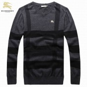 Burberry Manches Longue Pullover Pull Homme Col V Gris Bordeaux