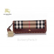 Burberry Marron Smoked Check Clutch et Sacs Sling Femme Portefeuille Factory Outlet
