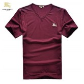 Burberry Manches Courte Col V T Shirt Homme Rouge Impermeable