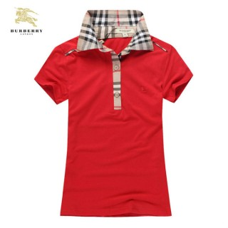 Burberry Uni Manches Courte Rouge Polo T Shirt Femme Maquillage