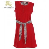Burberry Uni Col Rond Rouge T Shirt Femme Sans Manches Paris Boutique