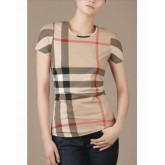 Burberry Beige Manches Courte Col Rond T Shirt Femme Porte Feuille