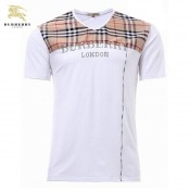 Burberry Blanc Col V T Shirt Homme Manches Courte Trench Occasion
