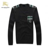 Burberry Gris Pull Homme Pullover Uni Col V Manches Longue Outlet Online