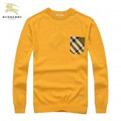 Burberry Jaune Col Rond Pull Homme Manches Longue Pullover Boutique Marseille