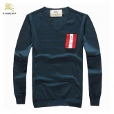 Burberry Pullover Pull Homme Manches Longue Col V Bleu Paris Madeleine