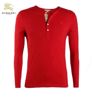 Burberry Rouge Uni Col Rond T Shirt Homme Manches Longue Imper Occasion