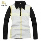 Burberry Blanc Polo T Shirt Femme Manches Longue Rayures Boutique Lille