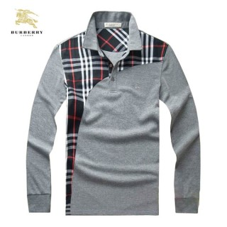 Burberry Gris T Shirt Homme Manches Longue Polo Outlet Londres