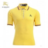 Burberry Manches Courte Polo T Shirt Homme Jaune Cravate
