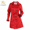 Burberry Manches Longues Polo Manteau Rouge Boutons Veste Femme Uni Trench Occasion