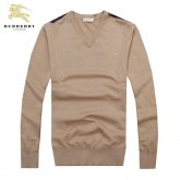 Burberry Pull Homme Col V Pullover Uni Manches Longue Beige Outlet Store