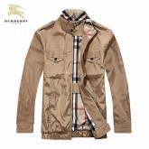 Burberry Veste Homme Manches Longues Col Montant Manteau Zippe Beige Uni Official Website