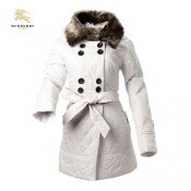 Burberry Boutons Uni Polo Blanc Manteau Veste Femme Manches Longues Outlet Paris