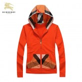 Burberry Manches Longues Orange Sweat Capuche Veste Femme Zippe Uni Cravate