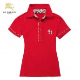 Burberry Rouge Manches Courte Polo T Shirt Femme Uni Impermeable