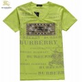 Burberry Impression Graphique Col V Manches Courte Vert T Shirt Homme Ballerines