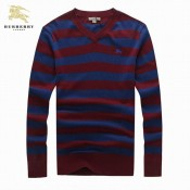 Burberry Col V Rouge Rayures Manches Longue Pullover Pull Homme Foulard