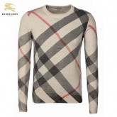 Burberry La Manches Longue Jaune Pull Homme Col Rond Rayures Pullover Magasin Lyon
