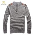 Burberry Manches Longue Pullover Col Montant Pull Homme Gris Fragrance
