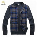 Burberry Pull Homme Zippe Manches Longue Cardigans Col Montant Gris Magasin Bordeaux