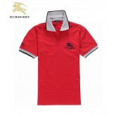 Burberry Rouge T Shirt Homme Polo Manches Courte Uni Recrutement