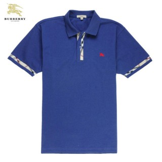 Burberry T Shirt Homme Manches Courte Uni Bleu Polo Magasin France