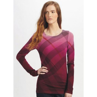 Burberry Pull Femme Pullover Rose Col Rond Rayures Manches Longue Boutique Paris