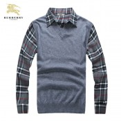 Burberry Manches Longue Polo Gris Pullover Pull Homme Boutique Marseille