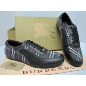 Burberry Lacets Rayures Gris Chaussure Homme Basket Basses Destockage