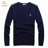 Burberrys Manches Longue Bleu Col Rond Pullover Pull Homme Factory Shop