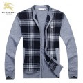 Burberrys Cardigans Manches Longue Zippe Pull Homme Gris Col Montant Collection