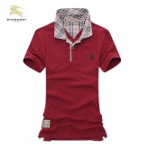 Burberrys Rouge Manches Courte Polo T Shirt Homme Fragrance