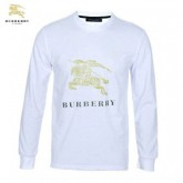 Burberrys T Shirt Homme Manches Longue Col Rond Blanc Occasion