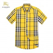 Burberrys Manches Courte Jaune Chemise Homme Carreaux Trench Soldes