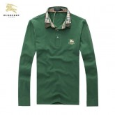 Burberrys Polo T Shirt Homme Vert Manches Longue Logo Official Website