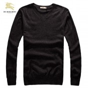 Burberrys Pull Homme Noir Uni Pullover Manches Longue Col V Outlet Online