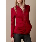 Burberrys Sweat Rouge Manches Longues Zippe Uni Capuche Veste Femme Outlet Paris
