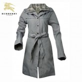 Burberry Manches Longues Veste Femme Zippe Manteau Uni Gris Couble Col Magasin France