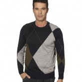 Burberry Pullover Pull Homme Col Rond Vert Petit Foulard