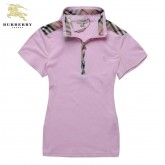 Burberry Polo Uni Manches Courte T Shirt Femme Rose Outlet Store Online