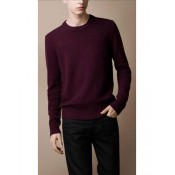 Burberry Pull Homme Rouge Col Rond Uni Pullover Manches Longue Collection