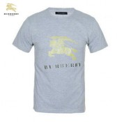 Burberry T Shirt Homme Gris Uni Manches Courte Col Rond Factory Outlet
