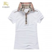 Burberry Blanc Manches Courte T Shirt Femme Uni Polo Site Officiel